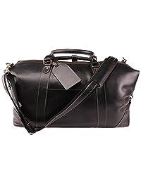 Viosi 复古可扩展行李袋皮革周末行李旅行包
