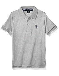 U.S. Polo Assn. 男童短袖双面布 Polo 衫 浅麻灰色 5/6