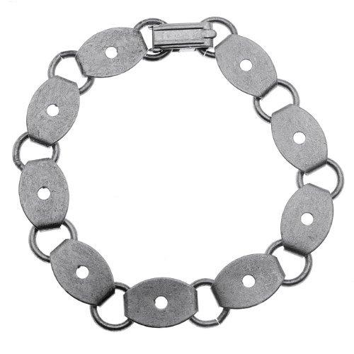 老年silverd_antiqued silver tone steel bracelet with 9.5x14.