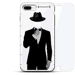 豪华设计师,3D 印花,时尚,气袋垫,360 玻璃保护膜套装手机壳 iPhone 8/7 Plus - 透明LUX-I8PLAIR360-TUX1 TUXEDO & HAT APPLE 透明
