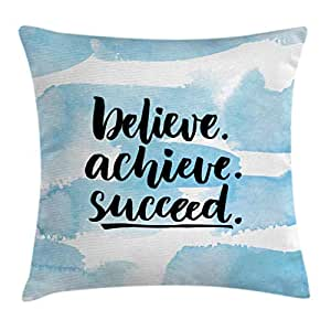 Inspirational Quotes Throw Pillow Cushion Cover by Ambesonne, Believe Achieve Succeed Positive Challenging Saying Brush Lettering, Decorative Square Accent Pillow Case, 20 X 20 Inches, Light Blue