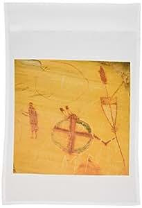 danita delimont–印*安人–美国本土 pictographs ,熊 gulch , montana–us27cha1282–CHUCK haney–旗帜 12 x 18 inch Garden Flag
