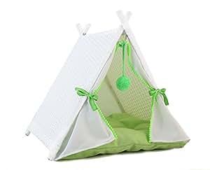 Baner Garden P518猫屋塔藤条柳条便携式家具帐篷游戏围栏软垫 White Rattan and Green Cushion