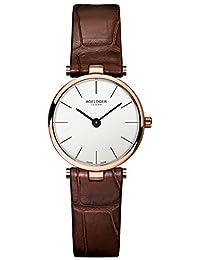 agelocer 艾戈勒 瑞士品牌 原装进口 超薄4.8MM潮流女士表 迷你镶钻石英手表 简约防水女士腕表(7082D2)