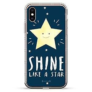 Luxendary Air 系列透明硅胶保护套 3D 印花设计气袋缓冲缓冲 iPhone Xs/X(5.8 英寸屏幕)LUX-IXAIR-STARRYNIGHT2 SHINE LIKE A STAR 透明