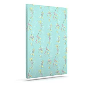 Kess InHouse Emma Frances Falling Florals 蓝绿色户外帆布墙体艺术,25.4 x 30.48 cm