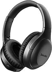 主动降噪耳机,无线耳机,带麦克风的蓝牙耳机,BesDio 头戴式耳机,带快速充电,蓝牙5.0,深低音,30小时播放时间适合旅行工作手机