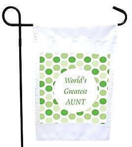 Rikki Knight World's Greatest Aunt *波尔卡圆点屋或花园旗帜,11 x 11 英寸图像,12 x 18 英寸