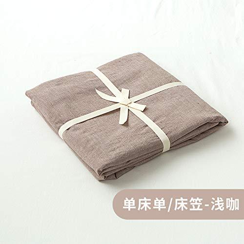 宝被 水洗棉床笠单件床单 简约纯色全棉纯棉1.5米1.8m床垫保护套 水洗棉-浅咖 床单(240x270cm)