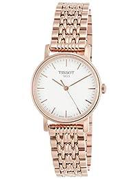 Tissot 银色表盘玫瑰金不锈钢女式手表 T1092103303100