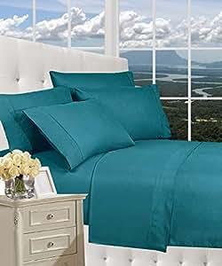 Elegance Linen® 防皱奢华 6 件套床单套装 1500 支埃及品质丝滑柔软 #1 评级床单套装和多种颜色 - 单人床、普通双人床、大号双人床、加大号双人床、加州大号双人床、加州大号双人床 蓝绿色 Split King