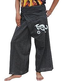 Raan Pah Muang RaanPahMuang 条纹棉质渔夫包裹裤澳大利亚袋鼠印花