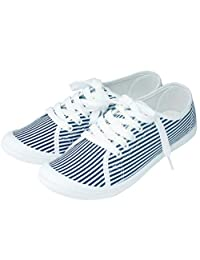 ZIP CORPORATION 女式轻便运动鞋 可爱 低帮 帆布 条纹 Lサイズ:約24~25㎝ 82862