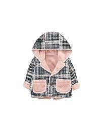 女婴羊毛夹克保暖毛衣夹克格子外套 适合幼童女孩 0-2T