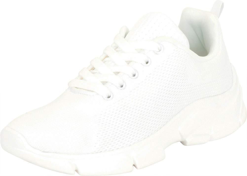 Cambridge Select 女式低帮轻质针织系带休闲时尚运动鞋