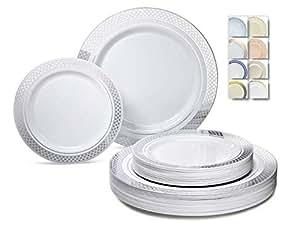 "SILVER"" OCCASIONS"" 240 件装重量级优质一次性塑料盘子套装 – 120 x 10.5'' 晚餐 + 120 x 7.5'' 沙拉/甜点 Celebration in White and Silver"