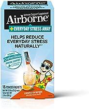 Airborne Everyday Stress Away 维生素 C  + L-茶氨酸 & B 族维生素,热情橙子口味混合营养粉(每盒16包 ),有助于自然减轻