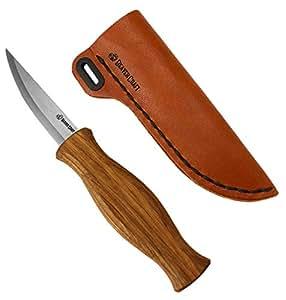 木雕刻松木刀,*和粗糙,适合初学者和简洁 - 耐用高碳钢 - 勺子雕刻工具 - 细木纹 Knife Sheath Kit C4SH1