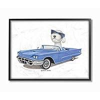 Stupell Industries 狗和太阳镜蓝色可转换家庭宠物墙壁艺术,11 x 14,白色