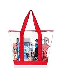 Bags for Less Large Clear Vinyl Tote Bags Shoulder Handbag