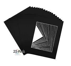 垫板中心,10 个装,11x14 黑色照片垫适合 8x10 张照片 黑色 11 x 14 25-Pack Mats A142-25Mat-1114-810