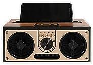 SEVIZ 复古无线蓝牙音箱,20W 立体声声音效,蓝牙 5.0 设备带 4 小时播放,便携式音箱,适用于家庭,旅行,FM 收音机,木制扬声器