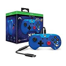 Hyperkin X91 有线游戏控制器,适用于 Xbox One 和 Windows 10(个人电脑和平板电脑),带 USB 复古设计,3.5 毫米耳机插孔和 9 英尺电缆 5.4 x 6 x 2.6 蓝色