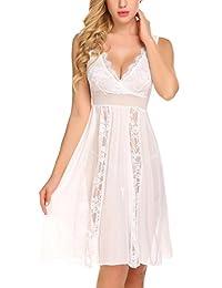 avidlove 女式性感蕾丝睡裙内衣套装透明薄纱深 V 娃娃装睡衣