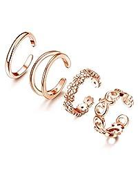 Adramata 4 件套 925 纯银女士趾环开口可调节戒指首饰套装  玫瑰金
