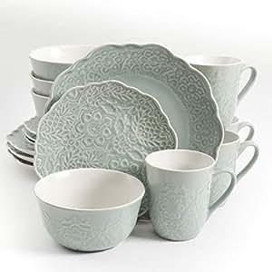 Gibson Portina 16 件餐具套装扇贝压花活性釉瓷盘 灰* Plates, Bowls & Mugs Portina 16-Piece Dinnerware Set