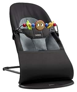 瑞典 BABYBJORN 平衡型 婴儿 摇椅 躺椅 可折叠收纳 纯棉面料 黑色/深灰色 含玩具(适合新生到13KG) (瑞典生产)