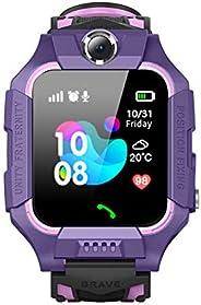 Happy Cherry 儿童 IP67 防水智能手表手机 LBS AGPS 追踪器 1.44 高清触摸屏腕表 带 SOS 相机游戏,适合 3-12 岁儿童 紫色 19081515085302070188