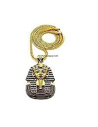 """男士埃及国王坦帕罗吊坠金或银色 4MM 36"""" 法兰哥链时尚项链 金色"""