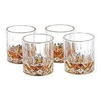 Relaxdays 威士忌玻璃杯 4 件套 250 毫升 餐厅 高贵的水晶外观 精致威士忌杯 家用吧台/展示柜 透明