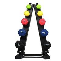 Fitness Republic 实心钢哑铃架架,A-Frame 哑铃收纳架,自由重量哑铃套装,适合家庭健身房锻炼,3/5 层重量架,适用于哑铃,重量塔,不锈钢 3/5 支架