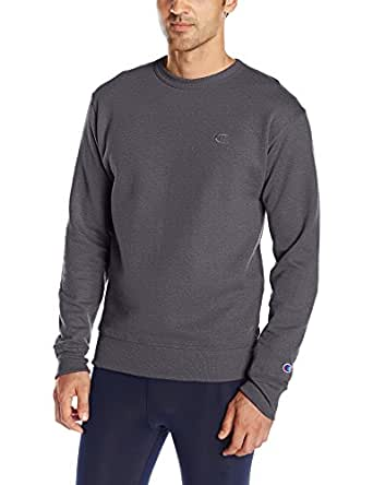 Champion Men's Powerblend Pullover Sweatshirt, Granite Heather, Small