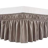 MEILA 床裙 三层面料两侧弹性包裹式灰尘褶边纯色床裙 易穿/易脱 40.64 厘米定制床裙,灰褐色,中号双人床/特大号双人床