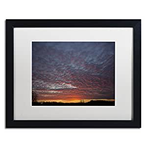 "Trademark Fine Art Amazing Winter Sunset by Kurt Shaffer Artwork, 16 by 20"", White Matte/Black Frame"