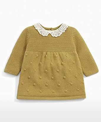 Mamas & Papas 女婴钩针针织衫及摇摆连衣裙 Yellow (Mustard Snbq) 12-18 Months (Manufacturer Size: 12-18 Months)