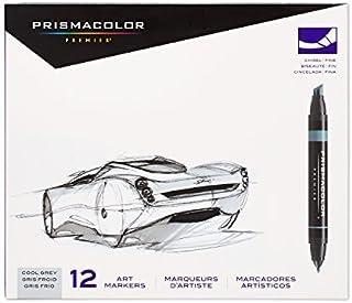 Prismacolor 高级艺术配件套装 马克笔 7号宽/细尖,12支装,酷灰色