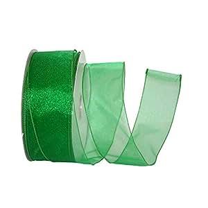 Reliant Ribbon 99908W-510-40K 透明可爱价值有线边缘丝带,祖母绿