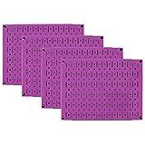 Pegboard Wall Organizer 瓷砖 - 墙壁控制模块化金属钉板瓷砖套装 - 四个 12 英寸高 x 16 英寸宽的木栓板板墙纸存储瓷砖 - 易于安装 紫色 PEG-BOARD-1264 PP