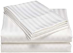 SRP Linen 埃及棉 500 支超柔单层床单套件 条纹床笠 38.1 厘米深套口(选择尺寸和颜色) 白色 Three Quarter