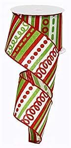"""Loopy 条纹圣诞帆布有线边缘丝带 - 10 码 White, Red, Lime Green 2.5"""" RG01315YA"""