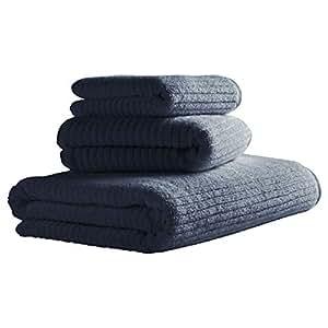 铆钉罗纹棉质毛巾 牛仔蓝 3 Piece Set (1 Bath, 1 Hand, 1 Washcloths) 2DGJH630