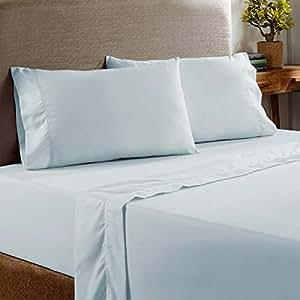 Amrapur 海外深口袋 400 根棉丰富桃色表面 4 件套床单 水绿色 两个 10400PSE-AQA-TN