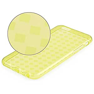 JUJEO Rhombus Pattern TPU Gel Cover with Anti-Dust Plugs for iPhone 6 4.7-Inch - Non-Retail Packaging - Yellow