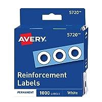 Avery 打孔加固贴纸,直径1/4 英寸(约 0.6 厘米),1000 个/包 Pack of 1000 白色