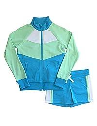 Avia 女孩蓝色和*拉链夹克和短裤运动套装