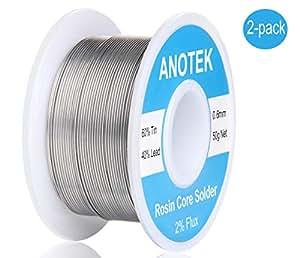 60-40 锡铅玫瑰核心焊线 0.6mm 0.11lbs 适用于电焊、电子设备、仪表线、玩具、彩色玻璃、首饰(2 件装)